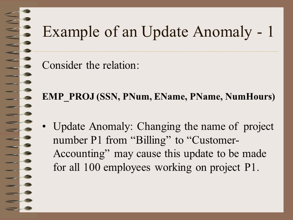 Example of an Update Anomaly - 1 Consider the relation: EMP_PROJ (SSN, PNum, EName, PName, NumHours) Update Anomaly: Changing the name of project number P1 from Billing to Customer- Accounting may cause this update to be made for all 100 employees working on project P1.