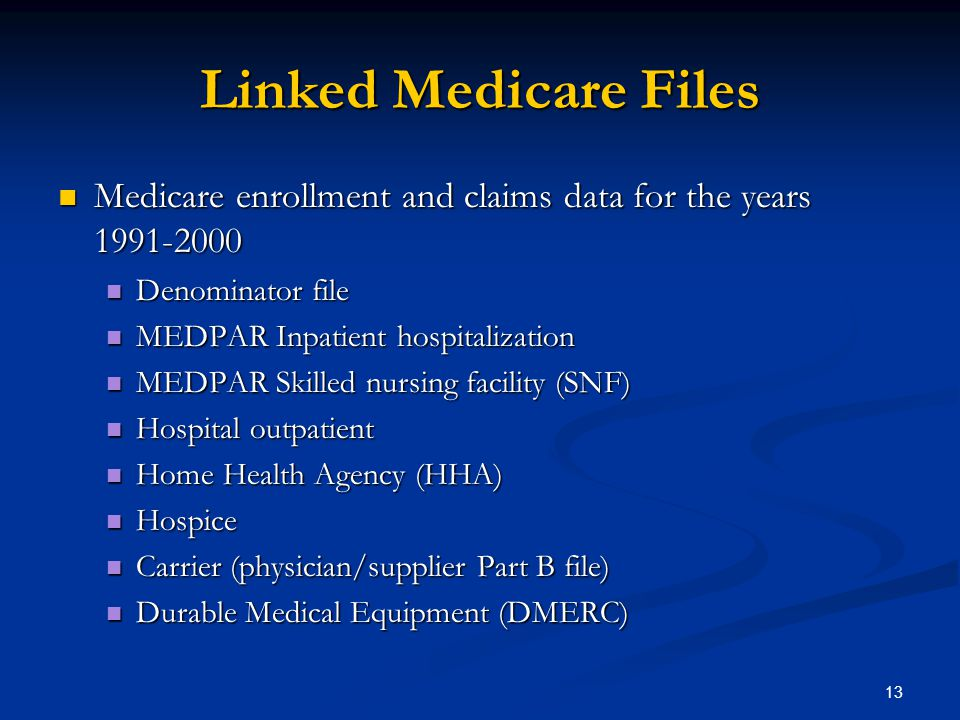 13 Linked Medicare Files Medicare enrollment and claims data for the years 1991-2000 Medicare enrollment and claims data for the years 1991-2000 Denominator file Denominator file MEDPAR Inpatient hospitalization MEDPAR Inpatient hospitalization MEDPAR Skilled nursing facility (SNF) MEDPAR Skilled nursing facility (SNF) Hospital outpatient Hospital outpatient Home Health Agency (HHA) Home Health Agency (HHA) Hospice Hospice Carrier (physician/supplier Part B file) Carrier (physician/supplier Part B file) Durable Medical Equipment (DMERC) Durable Medical Equipment (DMERC)