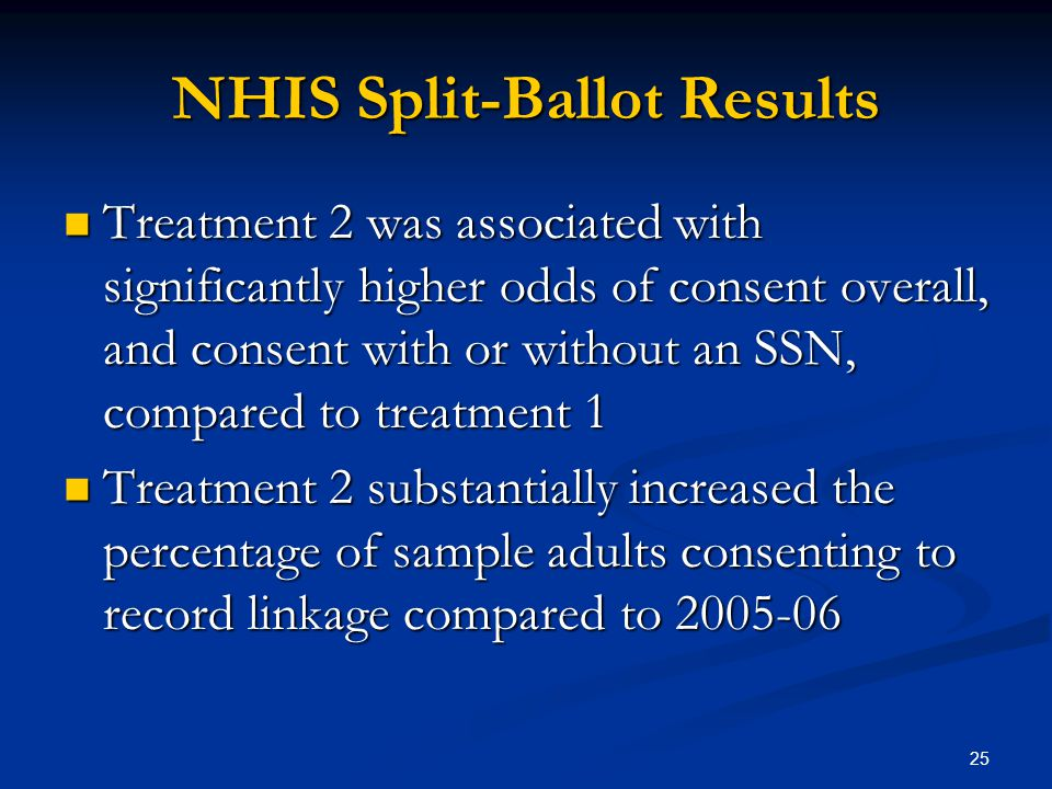 25 NHIS Split-Ballot Results Treatment 2 was associated with significantly higher odds of consent overall, and consent with or without an SSN, compared to treatment 1 Treatment 2 was associated with significantly higher odds of consent overall, and consent with or without an SSN, compared to treatment 1 Treatment 2 substantially increased the percentage of sample adults consenting to record linkage compared to 2005-06 Treatment 2 substantially increased the percentage of sample adults consenting to record linkage compared to 2005-06
