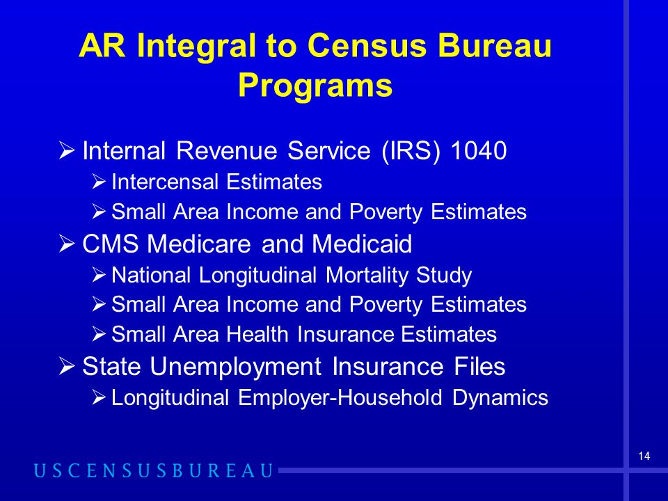 14 AR Integral to Census Bureau Programs  Internal Revenue Service (IRS) 1040  Intercensal Estimates  Small Area Income and Poverty Estimates  CMS Medicare and Medicaid  National Longitudinal Mortality Study  Small Area Income and Poverty Estimates  Small Area Health Insurance Estimates  State Unemployment Insurance Files  Longitudinal Employer-Household Dynamics