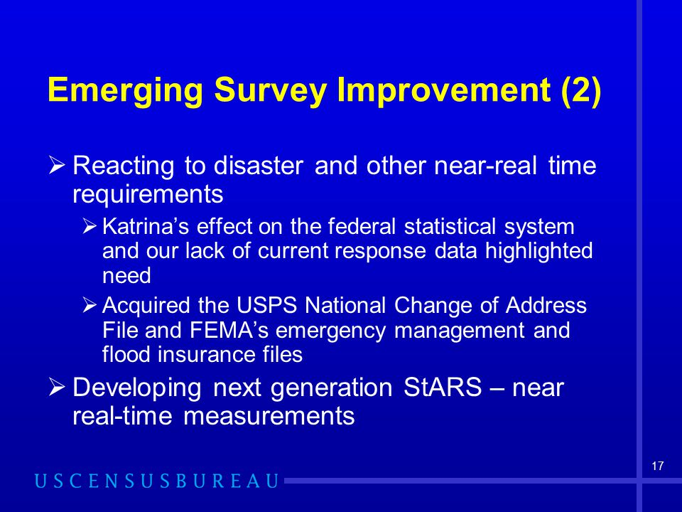 17 Emerging Survey Improvement (2)  Reacting to disaster and other near-real time requirements  Katrina's effect on the federal statistical system a