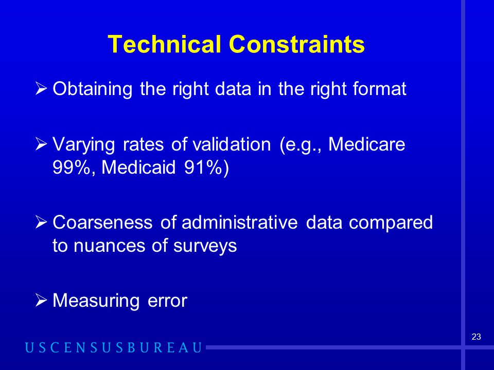 23 Technical Constraints  Obtaining the right data in the right format  Varying rates of validation (e.g., Medicare 99%, Medicaid 91%)  Coarseness