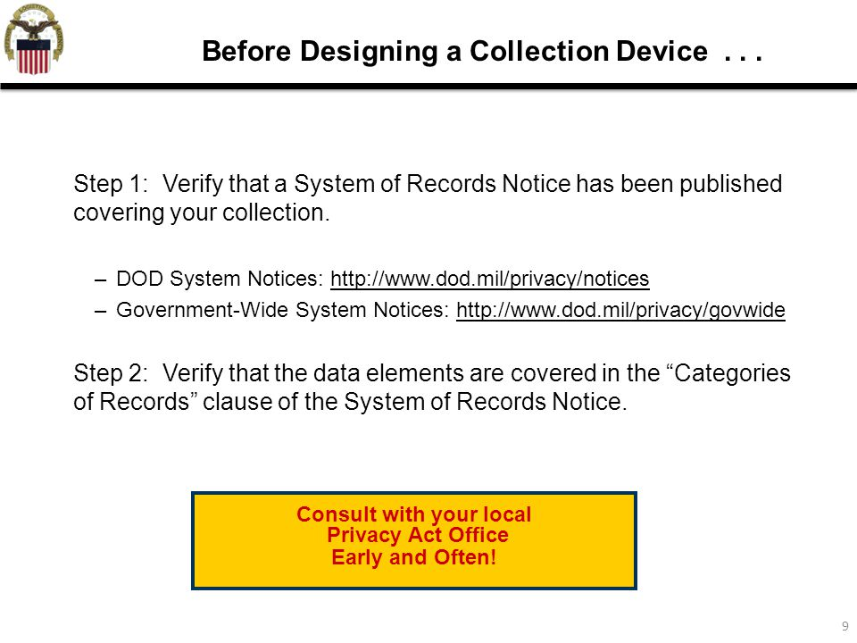 9 Before Designing a Collection Device...