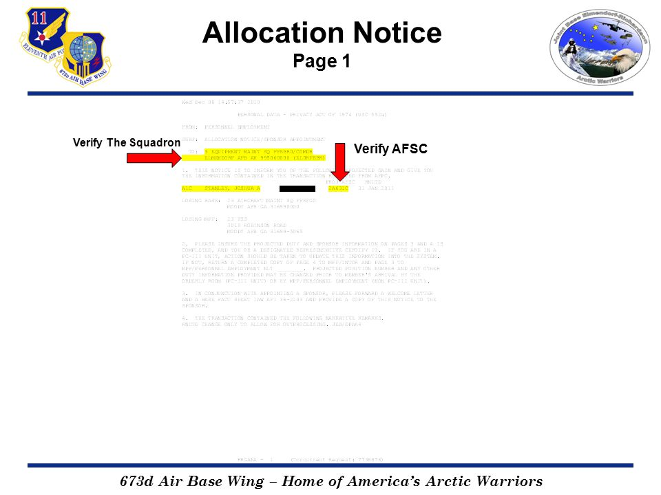 673d Air Base Wing – Home of America's Arctic Warriors Allocation Notice Page 2 For informational purpose