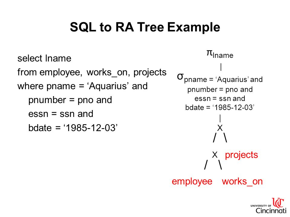 SQL to RA Tree Example select lname from employee, works_on, projects where pname = 'Aquarius' and pnumber = pno and essn = ssn and bdate = '1985-12-03' π lname | σ pname = 'Aquarius' and pnumber = pno and essn = ssn and bdate = '1985-12-03' | X / \ X projects / \ employee works_on