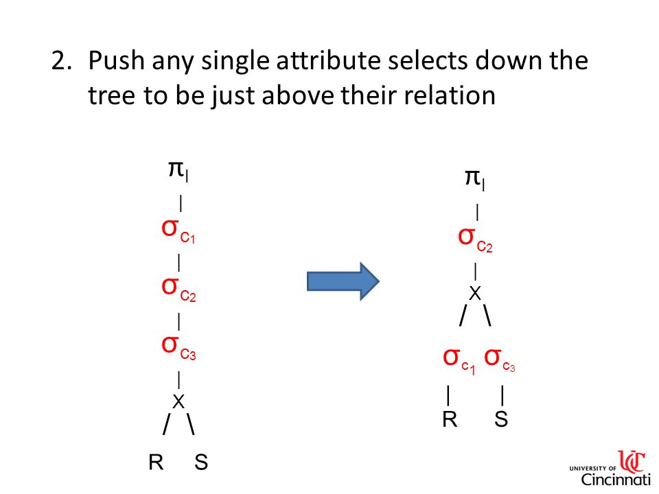 2.Push any single attribute selects down the tree to be just above their relation π l | σ c 1 | σ c 2 | σ c 3 | X / \ R S π l | σ c 2 | X / \ σ c 1 σ c 3 | R S