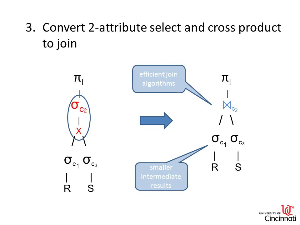 3.Convert 2-attribute select and cross product to join π l | σ c 2 | X / \ σ c 1 σ c 3 | R S π l | ⋈ c 2 / \ σ c 1 σ c 3 | R S smaller intermediate results efficient join algorithms