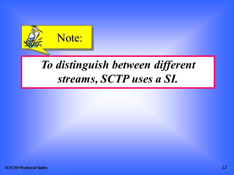 TCP/IP Protocol Suite 12 To distinguish between different streams, SCTP uses a SI. Note: