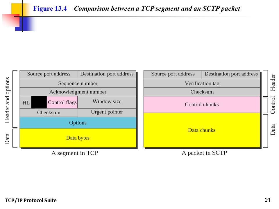 TCP/IP Protocol Suite 14 Figure 13.4 Comparison between a TCP segment and an SCTP packet