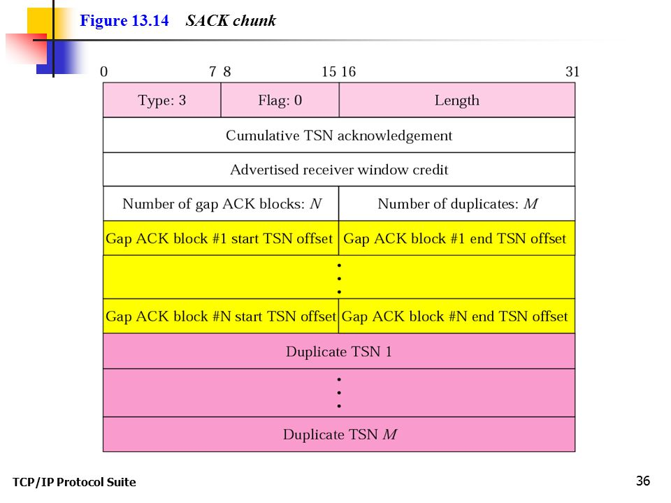 TCP/IP Protocol Suite 36 Figure 13.14 SACK chunk