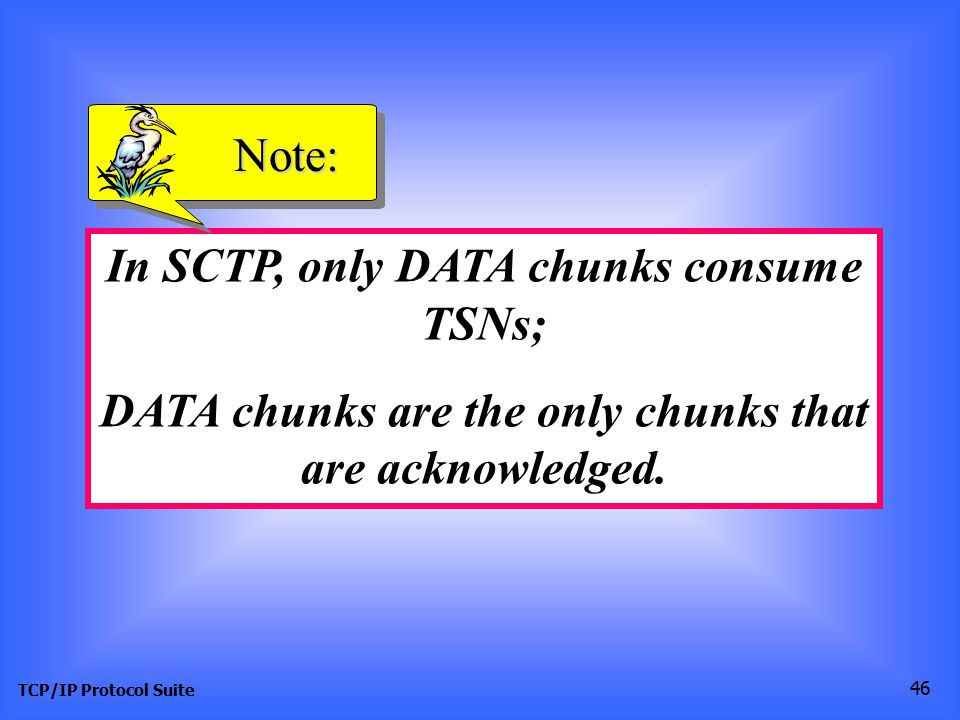 TCP/IP Protocol Suite 46 In SCTP, only DATA chunks consume TSNs; DATA chunks are the only chunks that are acknowledged.