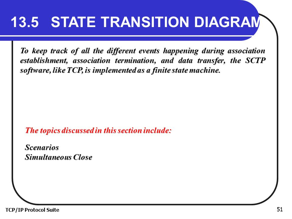 TCP/IP Protocol Suite 51 13.5 STATE TRANSITION DIAGRAM To keep track of all the different events happening during association establishment, association termination, and data transfer, the SCTP software, like TCP, is implemented as a finite state machine.