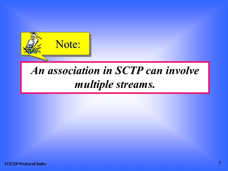 TCP/IP Protocol Suite 7 An association in SCTP can involve multiple streams. Note: