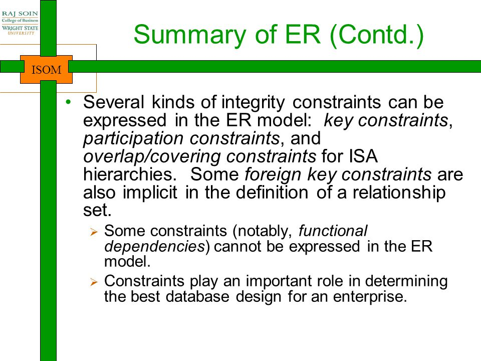 ISOM Summary of ER (Contd.) ER design is subjective.