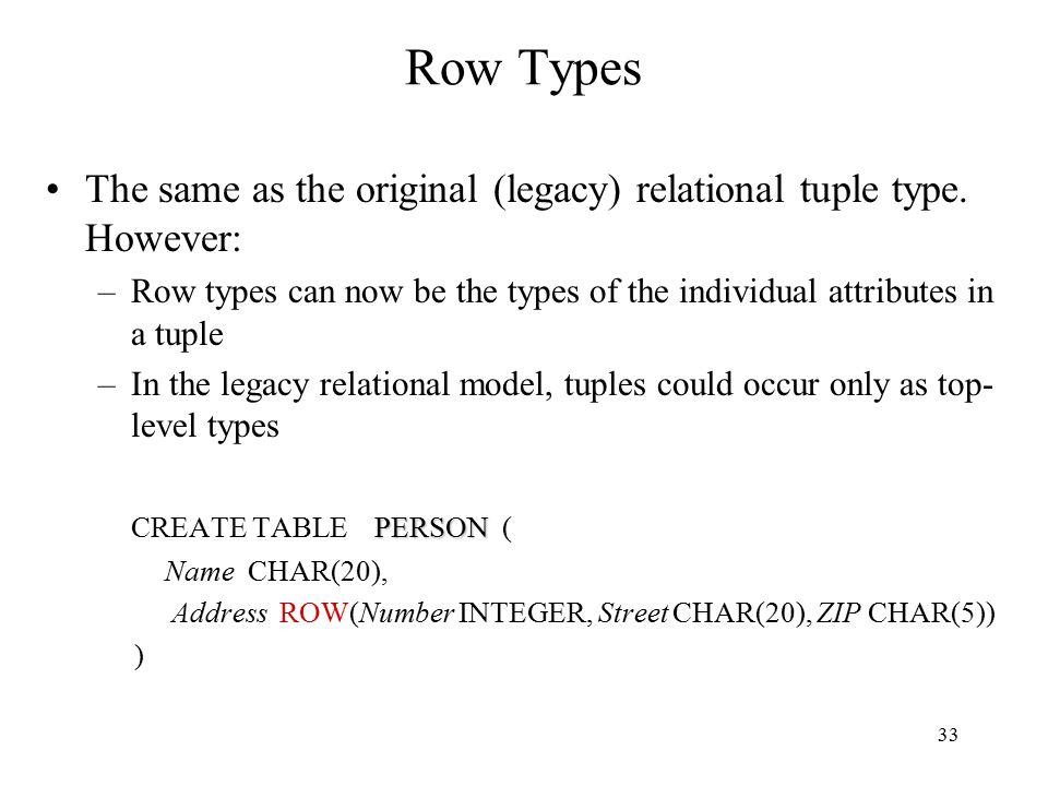 33 Row Types The same as the original (legacy) relational tuple type.