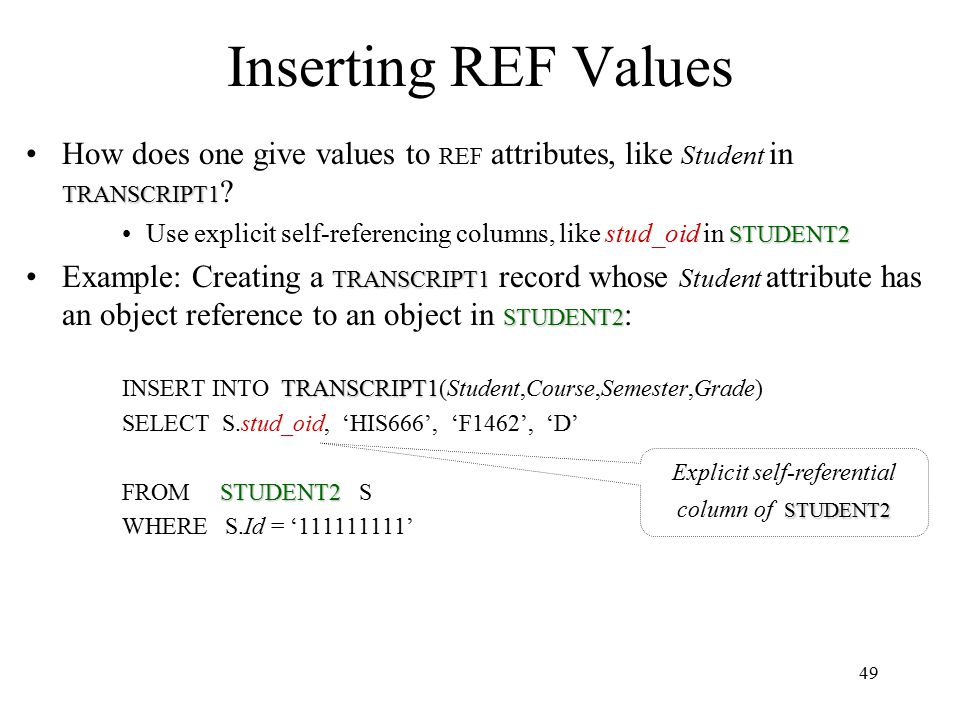 49 Inserting REF Values TRANSCRIPT1How does one give values to REF attributes, like Student in TRANSCRIPT1 .
