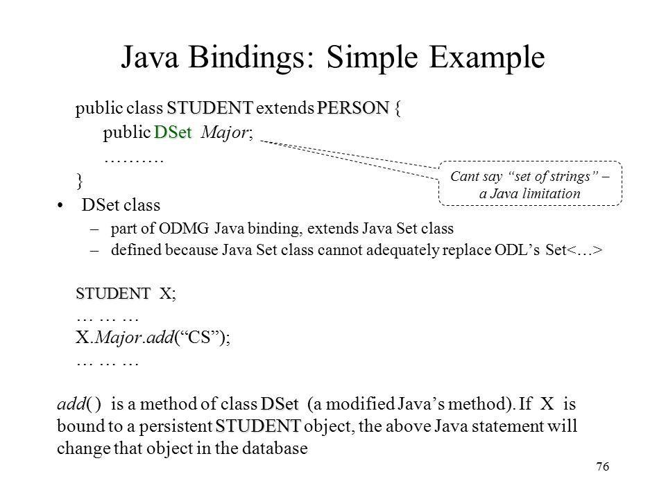 76 Java Bindings: Simple Example STUDENTPERSON public class STUDENT extends PERSON { DSet public DSet Major; ……….