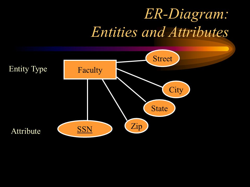 ER-Diagram: Entities and Attributes Entity Type Faculty Attribute SSN State City Street Zip