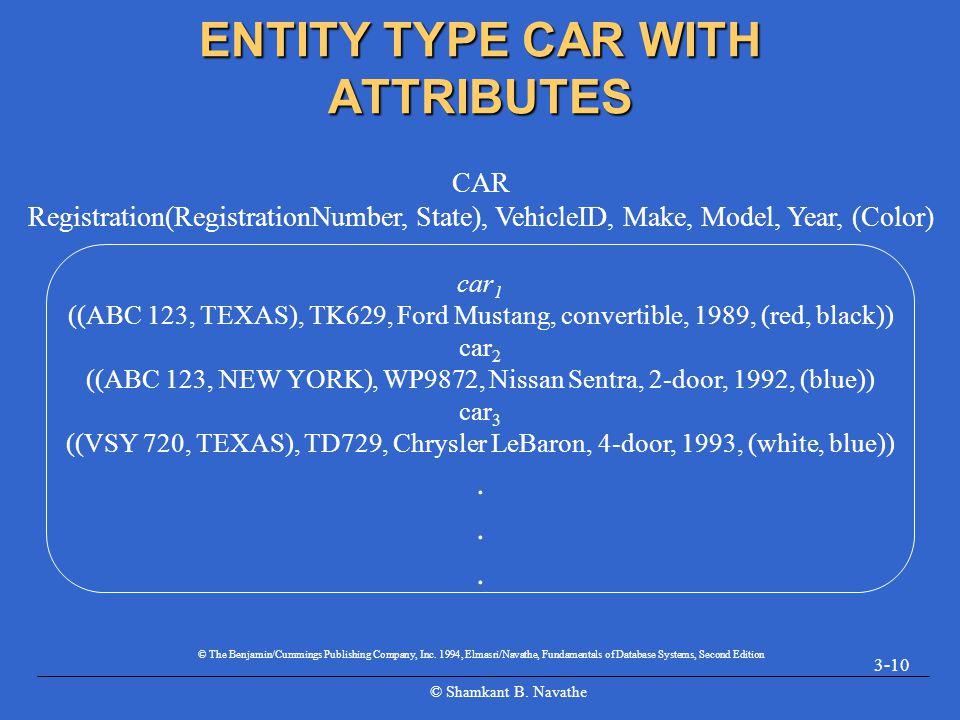 © Shamkant B. Navathe 3-10 ENTITY TYPE CAR WITH ATTRIBUTES car 1 ((ABC 123, TEXAS), TK629, Ford Mustang, convertible, 1989, (red, black)) car 2 ((ABC