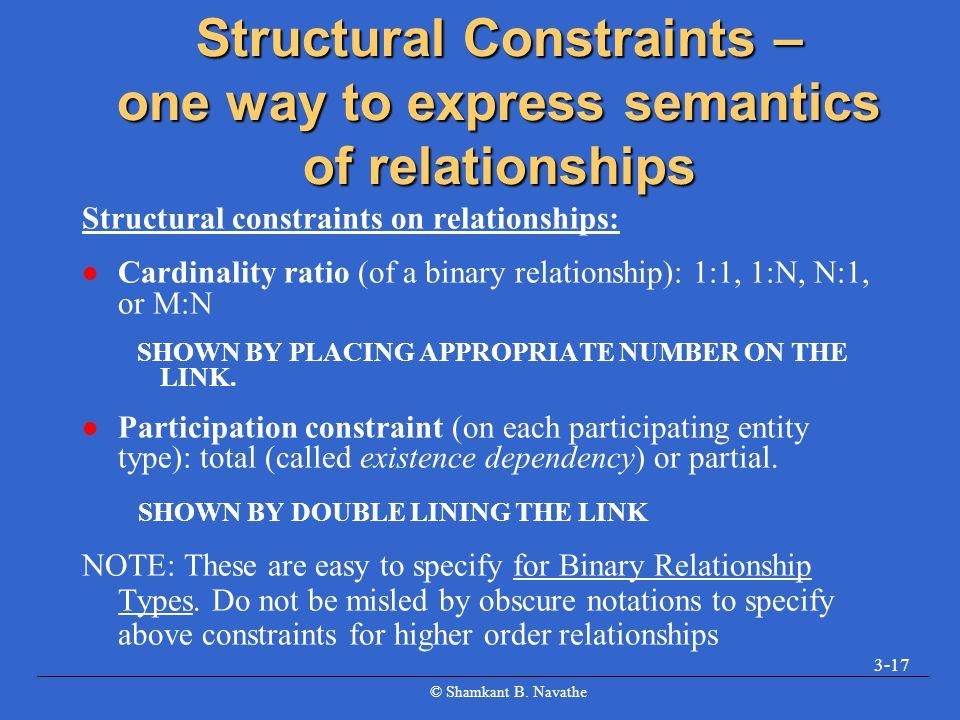 © Shamkant B. Navathe 3-17 Structural Constraints – one way to express semantics of relationships Structural constraints on relationships: l Cardinali