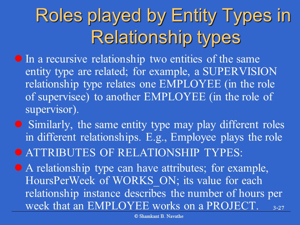 © Shamkant B. Navathe 3-27 Roles played by Entity Types in Relationship types In a recursive relationship two entities of the same entity type are rel