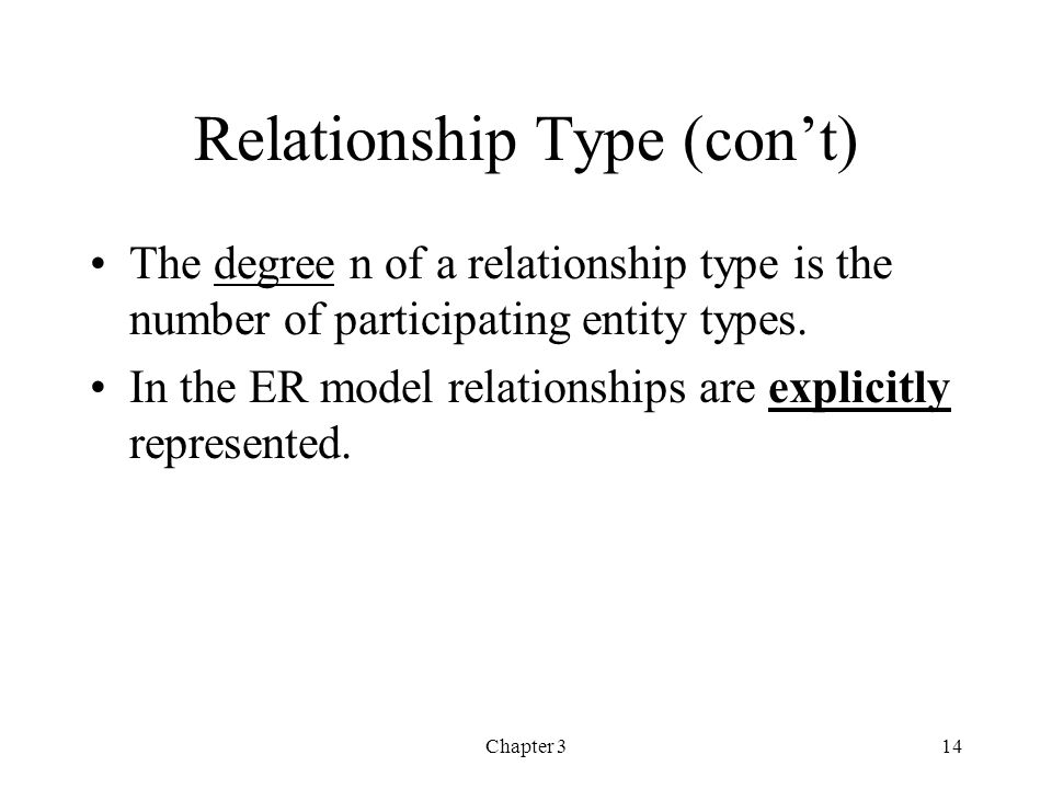 Chapter 315 Entity Roles Each entity type in a relationship type plays a particular role that is described by a role name.