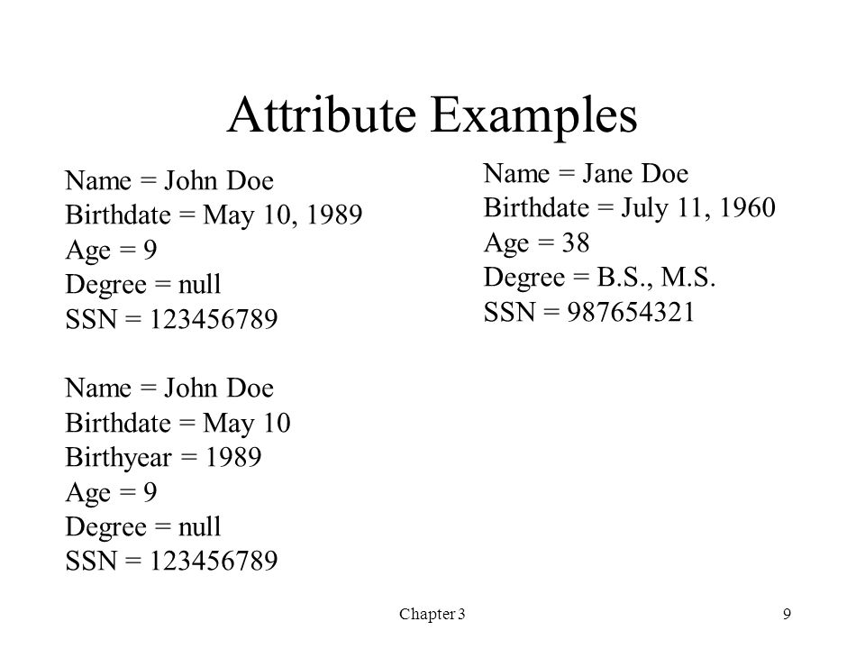 Chapter 39 Attribute Examples Name = John Doe Birthdate = May 10, 1989 Age = 9 Degree = null SSN = 123456789 Name = John Doe Birthdate = May 10 Birthy
