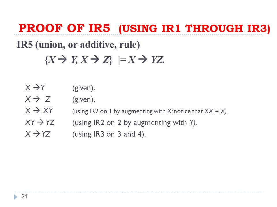 PROOF OF IR5 (USING IR1 THROUGH IR3) 21 IR5 (union, or additive, rule) {X  Y, X  Z} |= X  YZ.