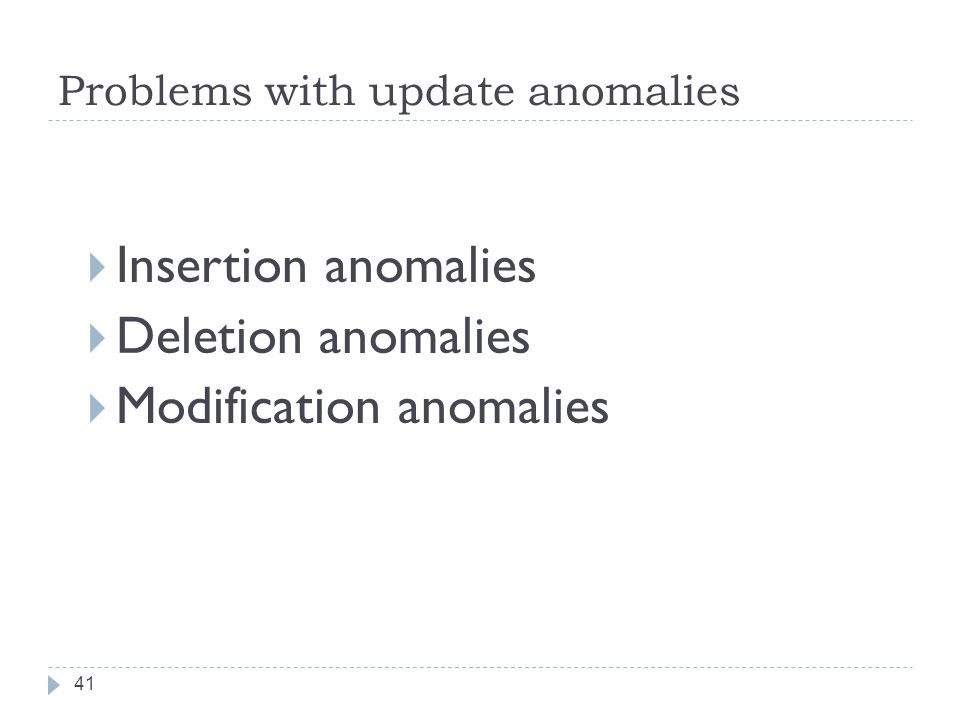 Problems with update anomalies 41  Insertion anomalies  Deletion anomalies  Modification anomalies