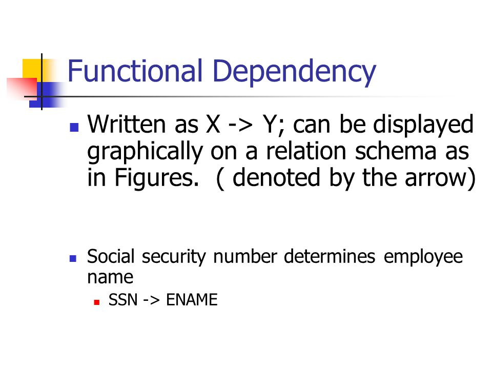 Functional Dependency Written as X -> Y; can be displayed graphically on a relation schema as in Figures. ( denoted by the arrow) Social security numb