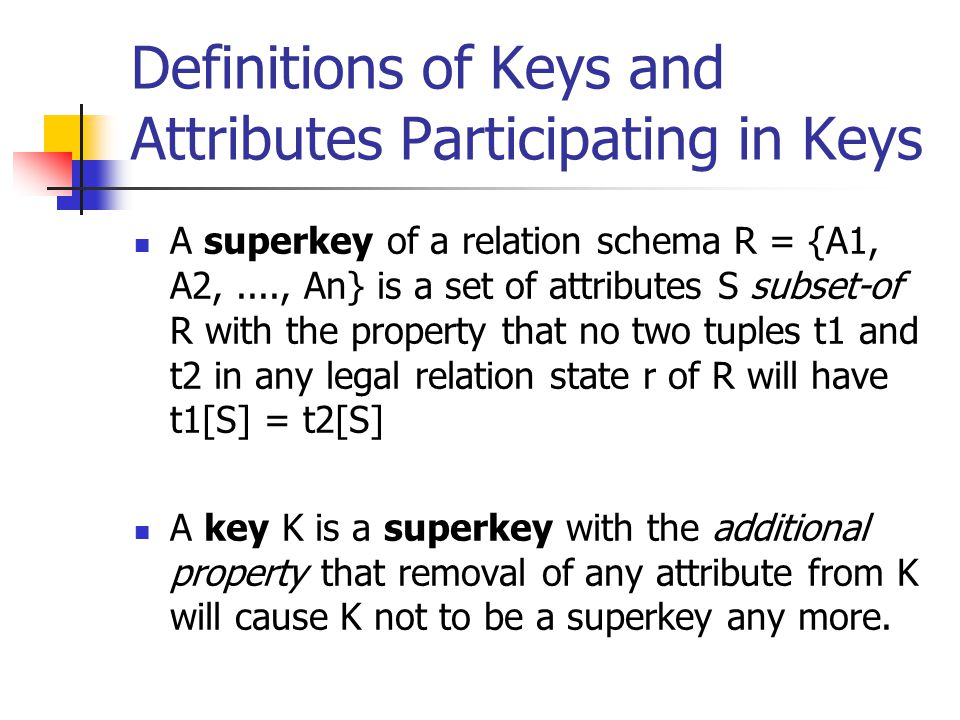 Definitions of Keys and Attributes Participating in Keys A superkey of a relation schema R = {A1, A2,...., An} is a set of attributes S subset-of R wi