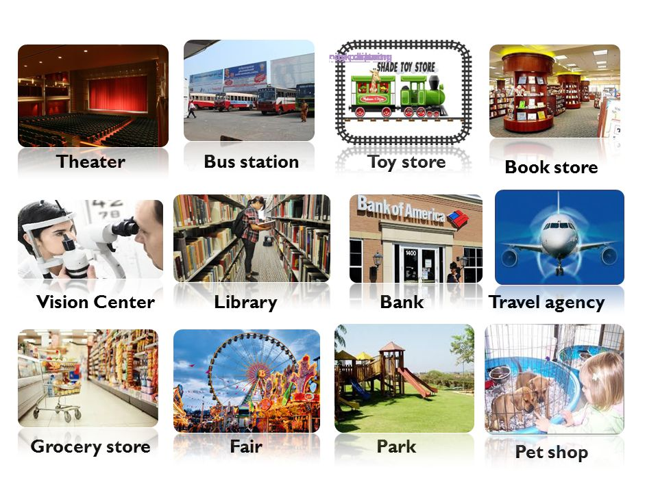 TheaterBus stationToy store Book store Vision CenterLibraryBankTravel agency Grocery store FairPark Pet shop park drawing park cartoon city park park clipart park drawing city park p
