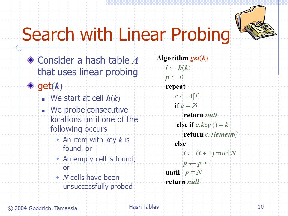 © 2004 Goodrich, Tamassia Hash Tables10 Search with Linear Probing Consider a hash table A that uses linear probing get (k) We start at cell h(k) We probe consecutive locations until one of the following occurs  An item with key k is found, or  An empty cell is found, or  N cells have been unsuccessfully probed Algorithm get(k) i  h(k) p  0 repeat c  A[i] if c   return null else if c.key ()  k return c.element() else i  (i  1) mod N p  p  1 until p  N return null