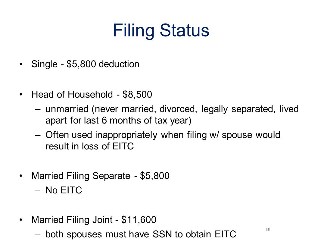13 Filing Status Single - $5,800 deduction Head of Household - $8,500 –unmarried (never married, divorced, legally separated, lived apart for last 6 months of tax year) –Often used inappropriately when filing w/ spouse would result in loss of EITC Married Filing Separate - $5,800 –No EITC Married Filing Joint - $11,600 –both spouses must have SSN to obtain EITC 18