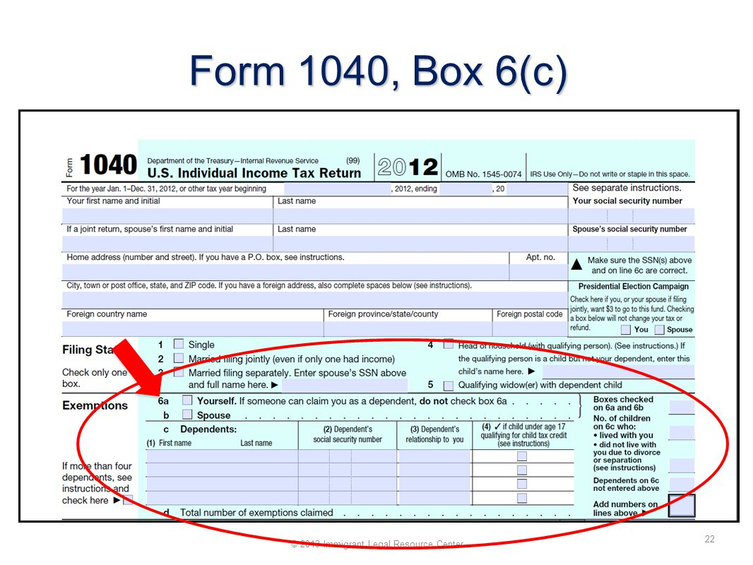 Form 1040, Box 6(c) 22 © 2013 Immigrant Legal Resource Center