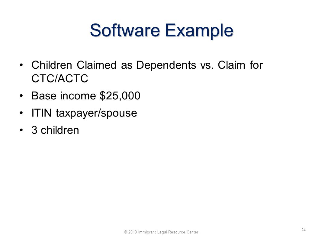 Software Example Children Claimed as Dependents vs.