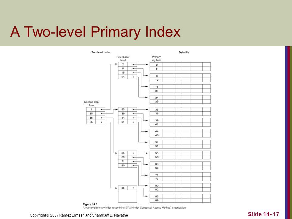 Copyright © 2007 Ramez Elmasri and Shamkant B. Navathe Slide 14- 17 A Two-level Primary Index