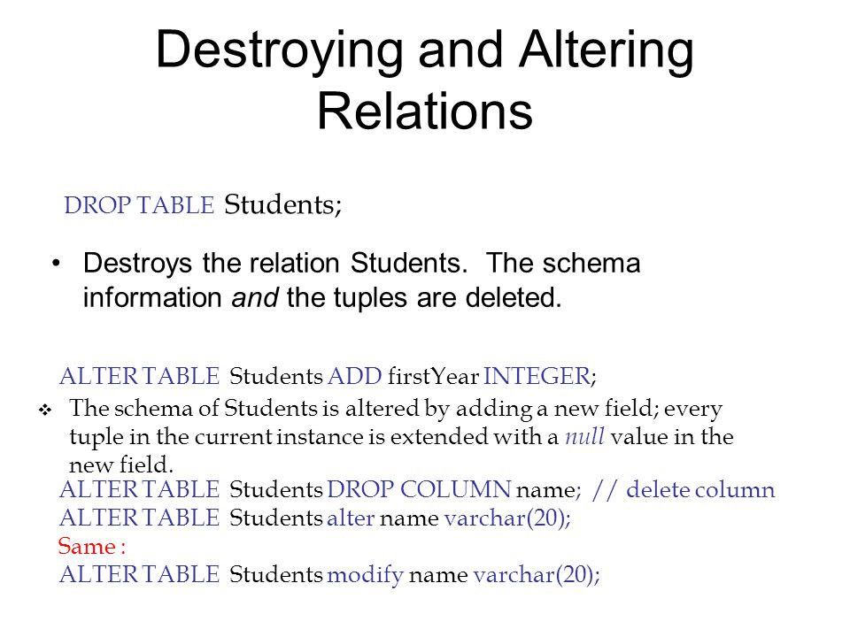 Adding and Deleting Tuples Can insert a single tuple using: INSERT INTO Students (sid, name, login, age) VALUES (53688, 'Smith', 'smith@ee', 18);  Can delete all tuples satisfying some condition (e.g., name = Smith): DELETE FROM Students S WHERE S.name = 'Smith';