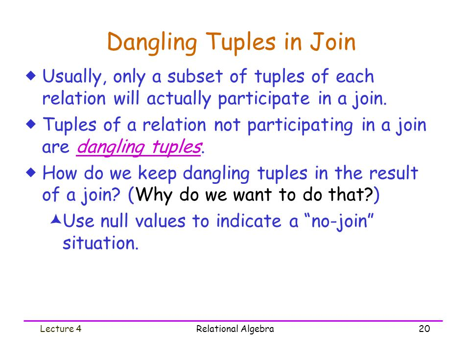 Lecture 4Relational Algebra20 Dangling Tuples in Join  Usually, only a subset of tuples of each relation will actually participate in a join.