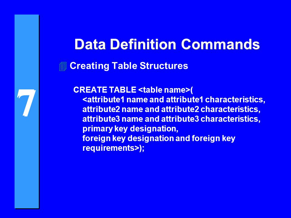 7 7 Data Definition Commands 4Creating Table Structures CREATE TABLE ( );