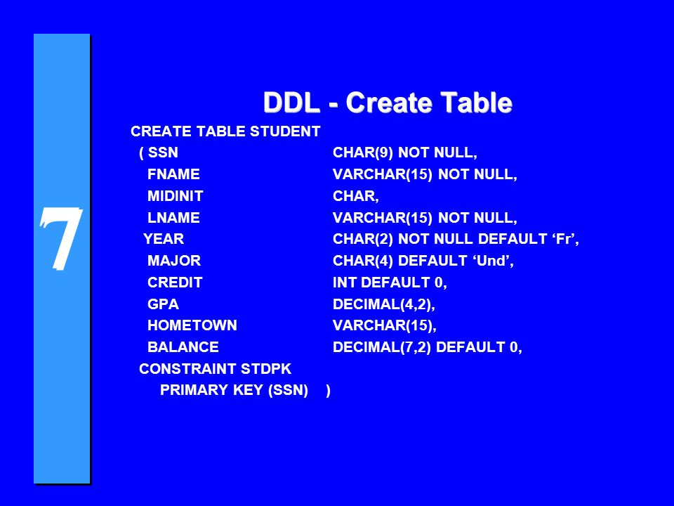 7 7 DDL - Create Table CREATE TABLE STUDENT ( SSN CHAR(9) NOT NULL, FNAME VARCHAR(15) NOT NULL, MIDINIT CHAR, LNAME VARCHAR(15) NOT NULL, YEAR CHAR(2) NOT NULL DEFAULT 'Fr', MAJOR CHAR(4) DEFAULT 'Und', CREDIT INT DEFAULT 0, GPA DECIMAL(4,2), HOMETOWN VARCHAR(15), BALANCE DECIMAL(7,2) DEFAULT 0, CONSTRAINT STDPK PRIMARY KEY (SSN) )