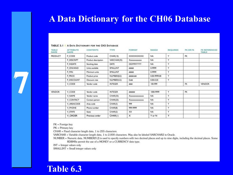 7 7 A Data Dictionary for the CH06 Database Table 6.3