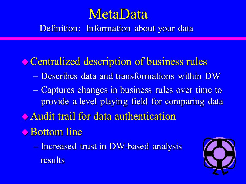 MetaData Definition: Information about your data MetaData Definition: Information about your data u Centralized description of business rules –Describes data and transformations within DW –Captures changes in business rules over time to provide a level playing field for comparing data u Audit trail for data authentication u Bottom line –Increased trust in DW-based analysis results results