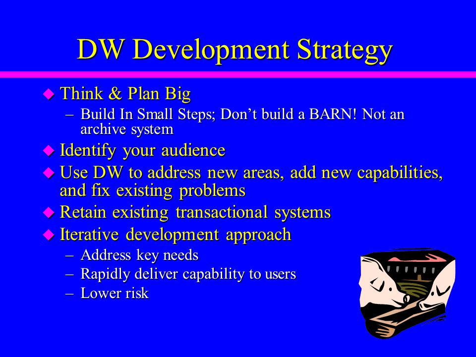 DW Development Strategy u Think & Plan Big –Build In Small Steps; Don't build a BARN.