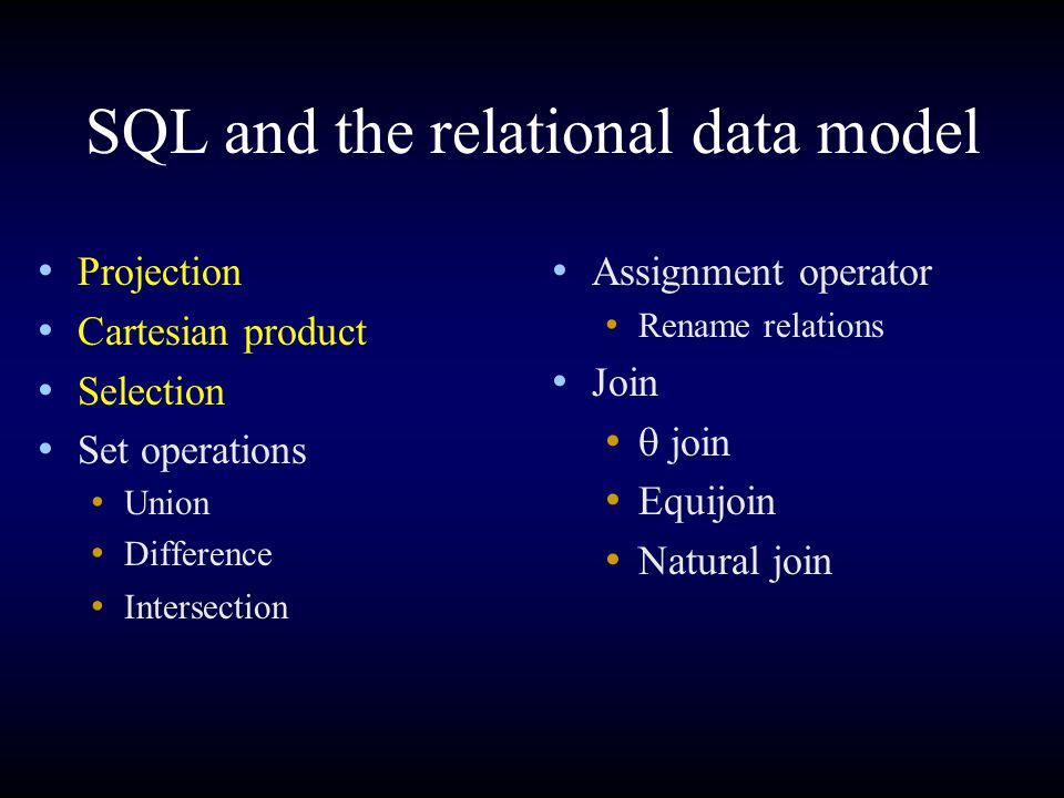 SQL and the relational data model Projection Cartesian product Selection Set operations Union Difference Intersection Assignment operator Rename relations Join  join Equijoin Natural join