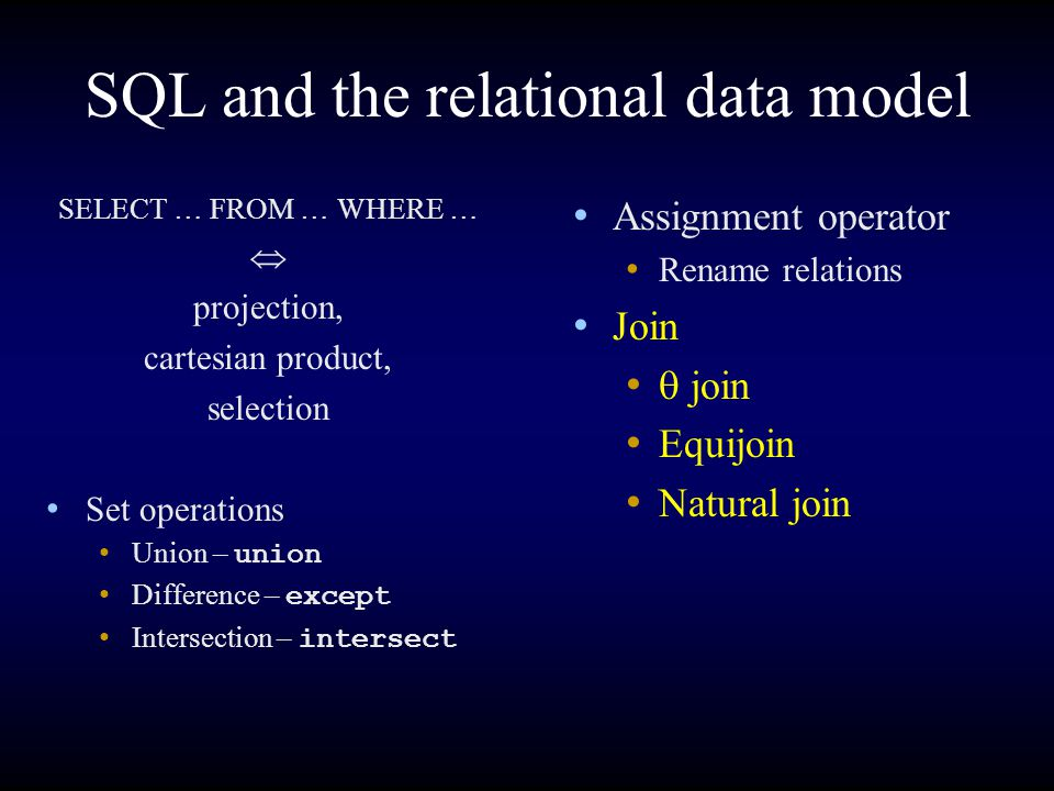 SQL and the relational data model Assignment operator Rename relations Join  join Equijoin Natural join SELECT … FROM … WHERE …  projection, cartesian product, selection Set operations Union – union Difference – except Intersection – intersect