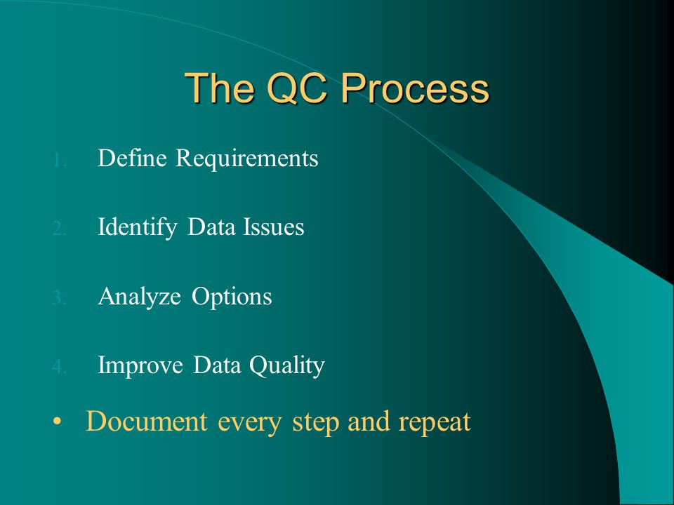 The QC Process 1. Define Requirements 2. Identify Data Issues 3.