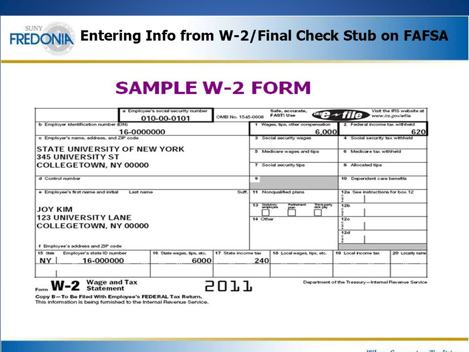 Entering Info from W-2/Final Check Stub on FAFSA