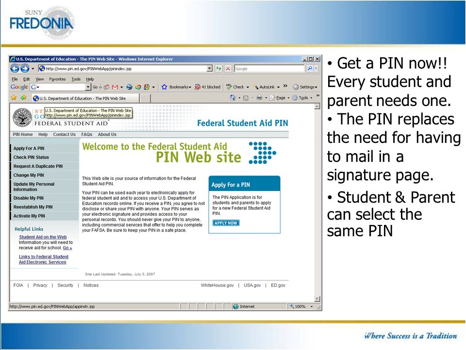 7 The on-line FAFSA allows students to list up to 10 colleges.