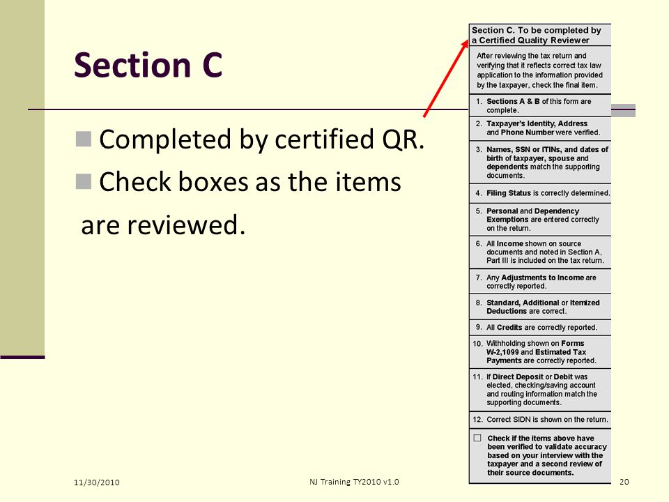 Section C Completed by certified QR. Check boxes as the items are reviewed.
